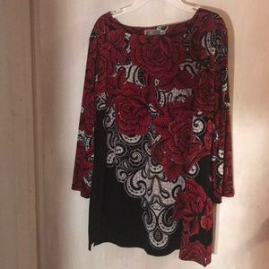 Jim collection red rose embellished top